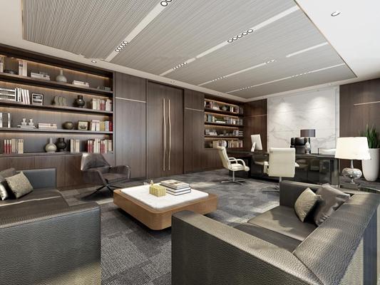 现代总经理办公室接待室3D模型【ID:76967855】