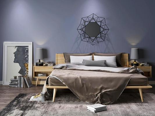 北欧实木双人床床头柜台灯装饰画墙饰摆件3D模型【ID:76968800】