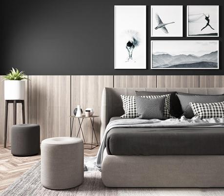 北欧布艺双人床凳子装饰画组合3D模型【ID:76972401】