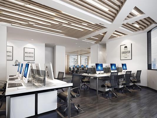 现代敞开式办公室3D模型【ID:76977369】
