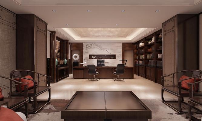 新中式总经理办公室3D模型【ID:76979054】