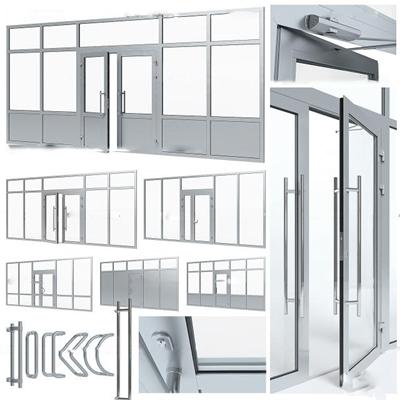 现代金属门窗3D模型【ID:76981052】