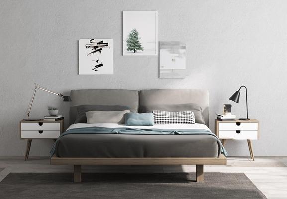 北欧双人床床头柜台灯装饰画组合3D模型【ID:76981900】