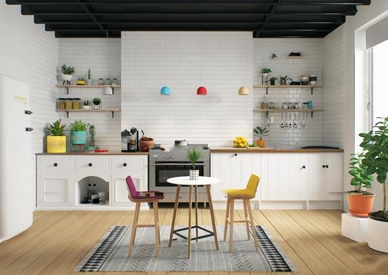 现代厨房橱柜餐具吧椅组合3D模型【ID:76983535】