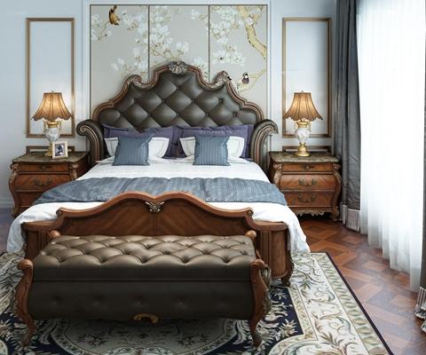 欧式卧室双人床床头柜台灯组合3D模型【ID:76985000】