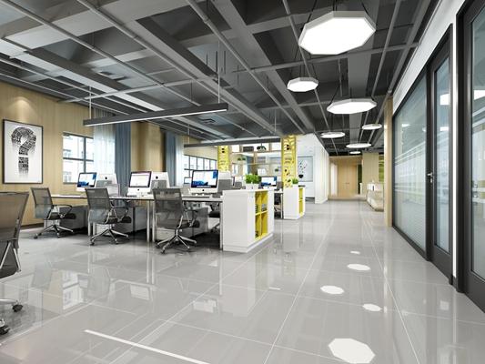 现代敞开式办公室前台休闲区3D模型【ID:76985468】