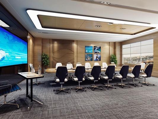 现代多功能大会议室3D模型【ID:76987481】