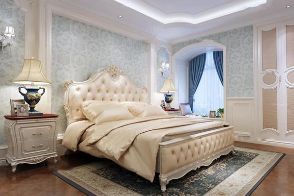 欧式双人床床头柜台灯组合3D模型【ID:76989303】