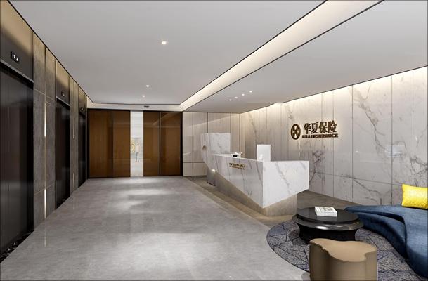 现代保险公司办公楼前台接待大堂3D模型