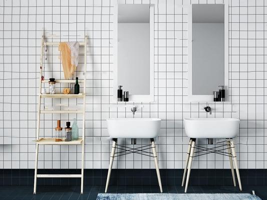 现代台盆卫浴架组合3D模型【ID:76999374】