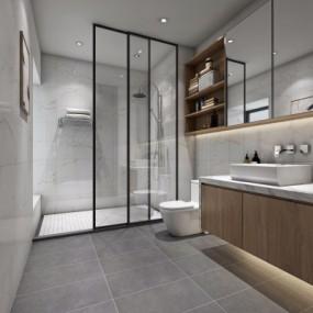 现代浴室卫生间3D模型【ID:127769623】
