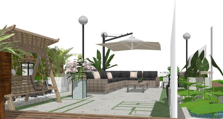 屋顶花园SU模型【ID:650739030】