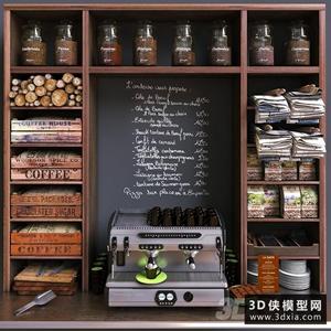 咖啡機器咖啡豆組合國外3D模型【ID:929314578】