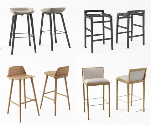 北歐吧椅組合3D模型【ID:327917186】