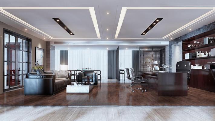 新中式简约总经理办公室3D模型【ID:77004855】