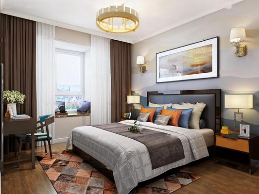 现代卧室双人床3D模型【ID:77012608】