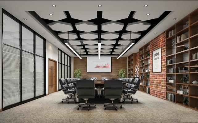 工业风会议室休息室3D模型【ID:77014585】
