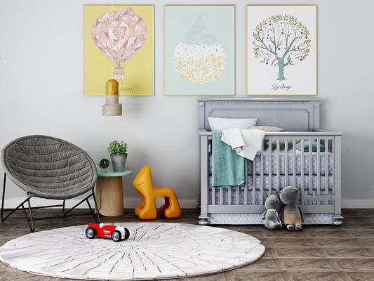 北欧婴儿床休闲椅圆几玩具吊灯装饰画3D模型【ID:77020110】