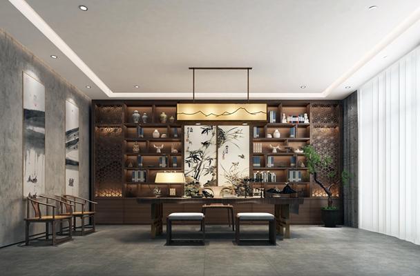 新中式总经理办公室书房3D模型【ID:77024751】