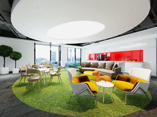 现代办公室茶水间休闲区3D模型【ID:77026062】