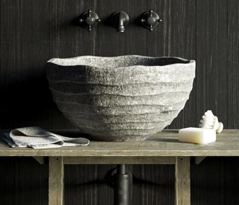 现代石雕台盆洗手台3D模型【ID:77035270】