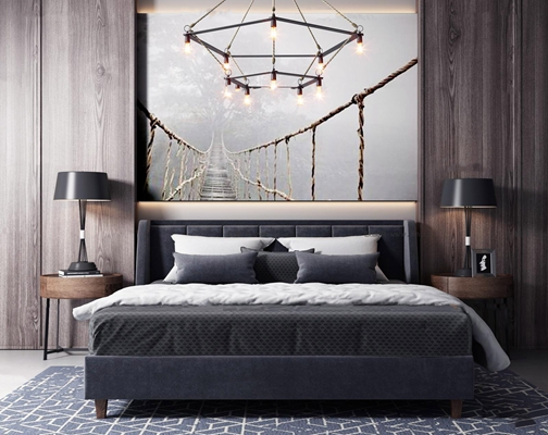 现代高级灰卧室双人床吊灯3D模型【ID:77036509】