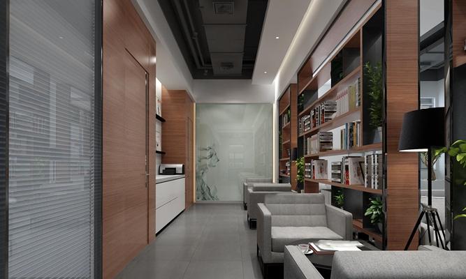 现代开放式办公室3D模型【ID:77041562】
