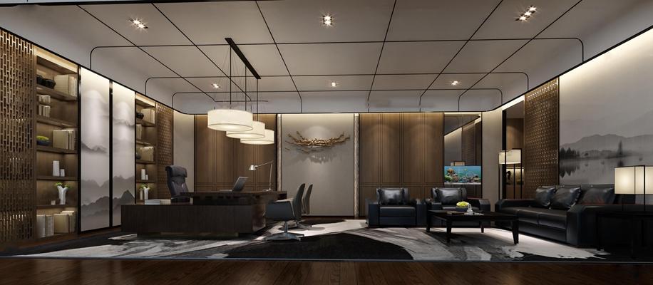 新中式总经理办公室3D模型【ID:77041657】