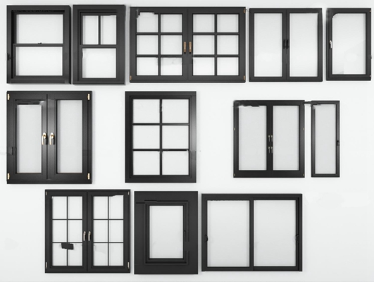 现代实木窗户组合3D模型【ID:77045158】