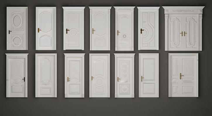 欧式白色雕花实木门组合3D模型【ID:77049056】