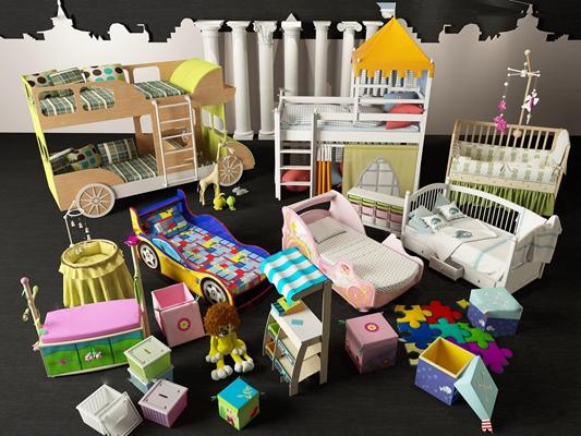 現代嬰兒床兒童房玩具組合3D模型【ID:77049318】