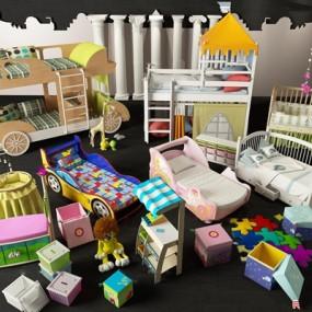 现代婴儿床儿童房玩具组合3D模型【ID:77049318】
