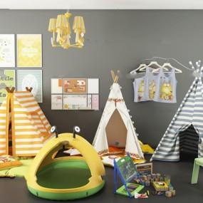 现代儿童帐篷床组合3D模型【ID:77049518】