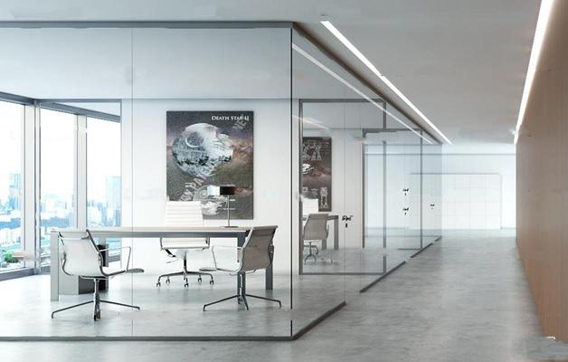 现代办公室走廊过道3D模型【ID:77052764】