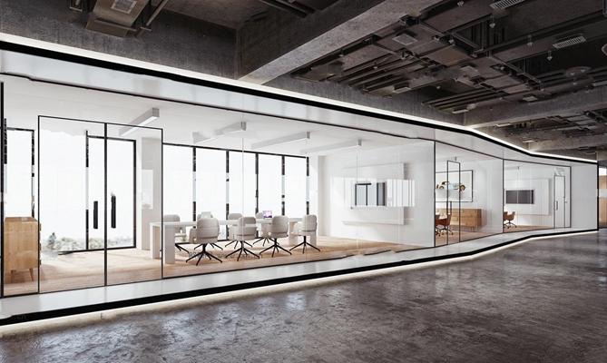 工业风办公室走廊会议室组合3D模型【ID:77053060】