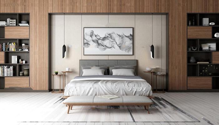 北欧双人床书架装饰画组合3D模型【ID:77053604】