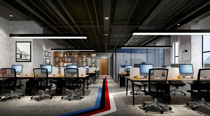 工业风敞开式办公室3D模型【ID:77055262】