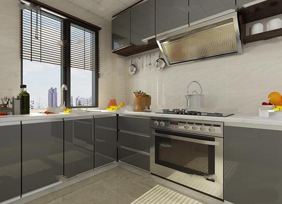 现代厨房橱柜餐具3D模型