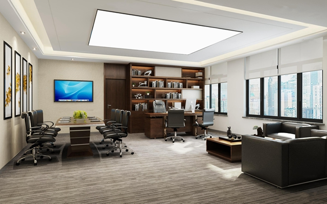 现代总经理办公室会议桌椅3D模型【ID:77059655】