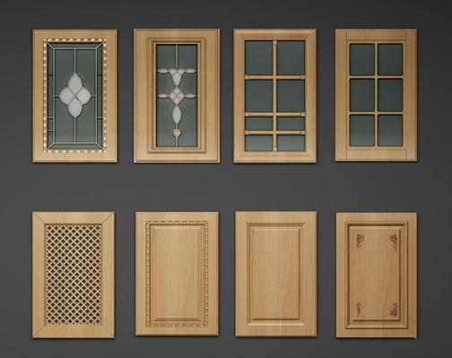 簡歐實木廚柜門板組合3D模型【ID:77067154】