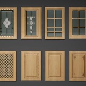 简欧实木厨柜门板组合3D模型【ID:77067154】