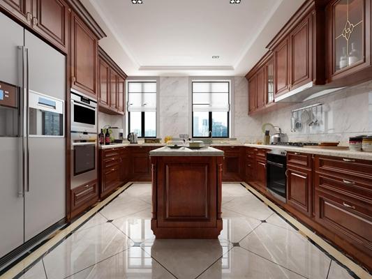 美式厨房橱柜餐具3D模型【ID:77067435】