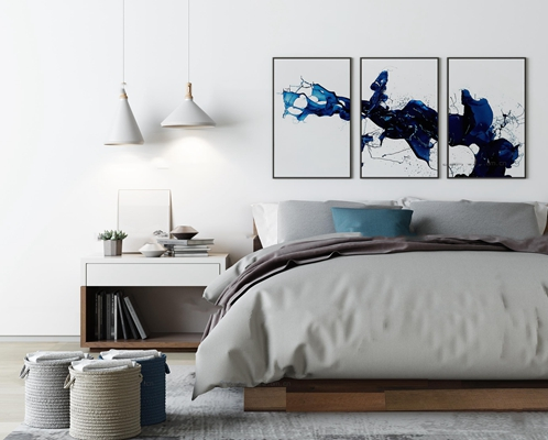 现代布艺双人床床头柜吊灯装饰画组合3D模型【ID:77072208】
