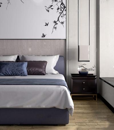 新中式布艺双人床床头柜吊灯组合3D模型【ID:77076105】