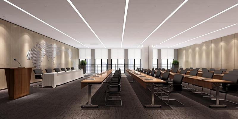 现代多功能会议室报告厅3D模型【ID:77077684】