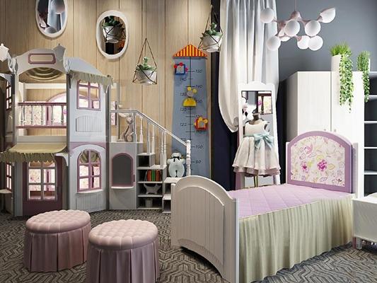 歐式兒童床衣柜組合3D模型【ID:77078318】