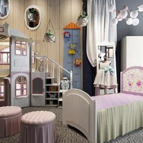 欧式儿童床衣柜组合3D模型【ID:77078318】