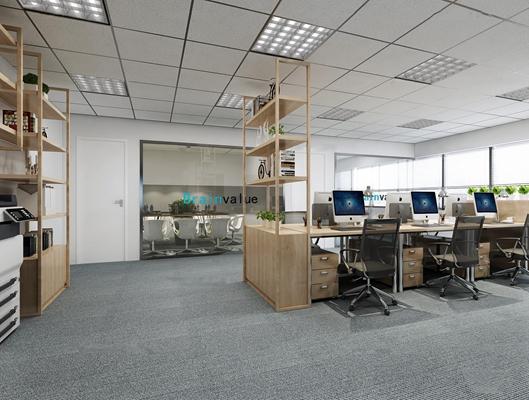现代敞开式办公室3D模型【ID:77079567】