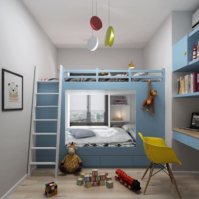 北欧儿童上下床3D模型【ID:77080917】