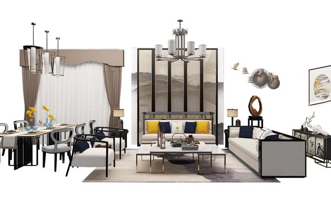 新中式沙发餐桌椅组合3D模型